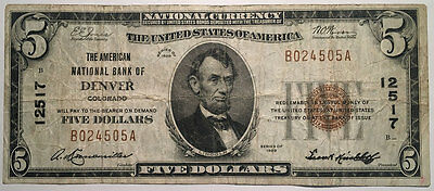 1929 Ty I $5 American National Bank Of Denver, Co: Chtr #12517,circulated