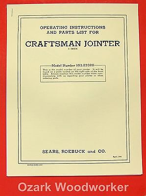 """CRAFTSMAN 6"""" Jointer 103.23320 Owner's Operator's & Parts Manual 0900"""