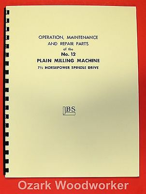 BROWN & SHARPE No. 12 Plain Milling Machine Part Manual 0098