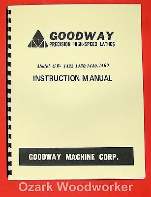 GOODWAY GW-1422,1430,1440,1460 Metal Lathe Instructions Manual 0955