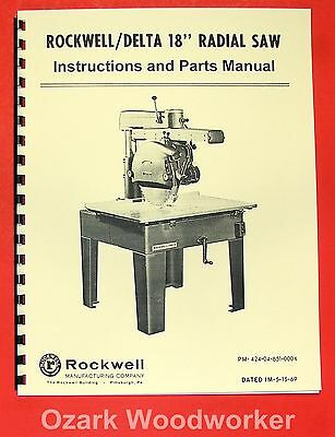 """ROCKWELL-DELTA 18"""" Radial Arm Saw Operator's & Parts Manual 0640"""
