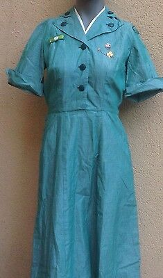 1960s Vintage Girl Scouts Dress Uniform W Pins And Patches