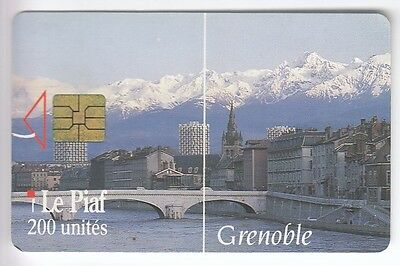 Piaf Parking Carte / Card .. Grenoble 38 200U Vue Isere 02/93 4.000Ex Chip/puce