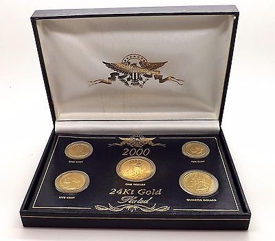 The 2000 Presidential 24Kt Gold Plated 5 Piece Coin Set