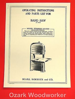 CRAFTSMAN 103.0103 12 Inch Band Saw Owner's Instructions and Parts Manual 1020