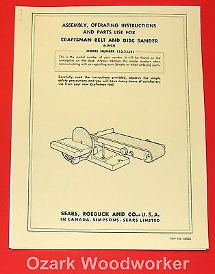 "CRAFTSMAN 6"" Belt & Disc Sander 113.22541 Owner's & Parts Manual 1042"