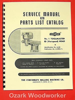 CINCINNATI No. 1 Toolmaster Milling Machine & ID Varispeed Head Part Manual 0124