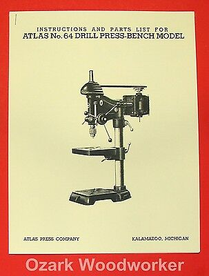 "ATLAS No. 64 15"" Drill Press Operators & Parts Manual 0777"
