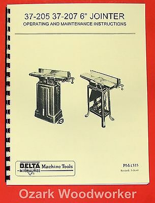 "DELTA-Milwaukee 6"" Short Bed Jointer 37-205, 37-207 Owner's & Parts Manual 0209"