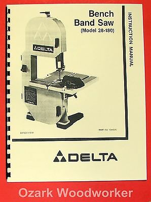 "DELTA 28-180 8"" Bench Band Saw Instruction & Parts Manual 0204"