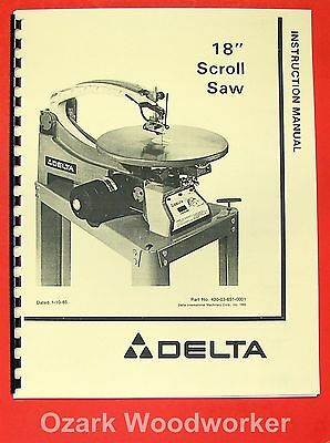 "DELTA 40-601 18"" Scroll Saw Instruction & Parts Manual 0205"