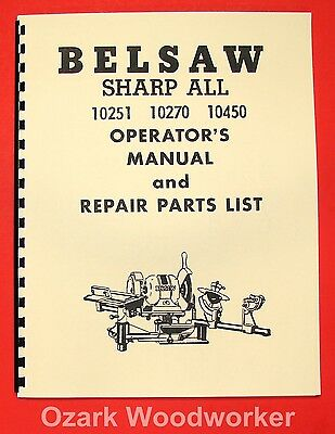 BELSAW 10251 10270 10450 Sharp All Blade Grinder Instruction & Parts Manual 0059