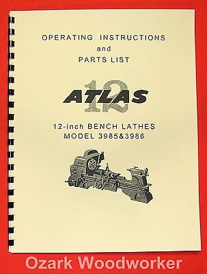 "ATLAS/CRAFTSMAN 12"" Metal Bench Lathe 3986 & 3985 Clausing Manual 0045"