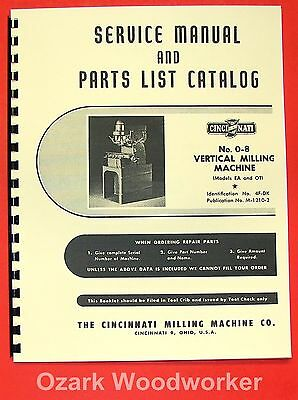 CINCINNATI Vertical Milling Machine No 0-8 Model EA OT Service Part Manual 0130