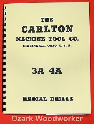 """CARLTON 3A & 4A Radial Drill Parts Manual with Columns 11""""-19"""" 0113"""