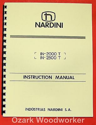 NARDINI MS-1400//TR MS-1600//TR Metal Lathe Instructions /& Parts  Manual 1003
