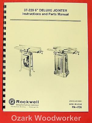 "ROCKWELL 37-220 6"" Deluxe Jointer Parts Manual 0605"