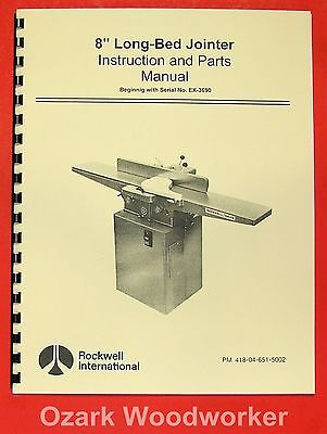 "ROCKWELL 8"" Jointer Operator Part Manual 0610"