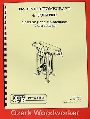"HOMECRAFT DELTA 37-110 4"" Jointer Operator Manual 0362"