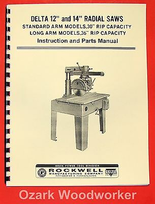 """DELTA-Rockwell 12"""" & 14"""" Radial Arm Saw Instructions & Parts Manual 0229"""