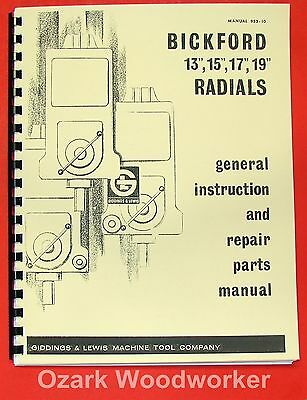 GIDDING & LEWIS Bickford Radial Drill Operator's & Parts Manual 0319