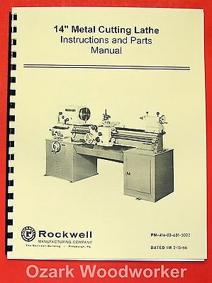 "ROCKWELL 14"" Cabinet Lathe Older Operating/Parts Manual 0595"