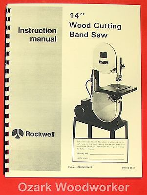 "ROCKWELL/Delta 14"" Hinged Wood Band Saw Part Manual 0626"