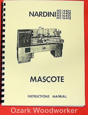 NARDINI MS-1440, 1640 S/E Mascote Lathe Part Manual 0483