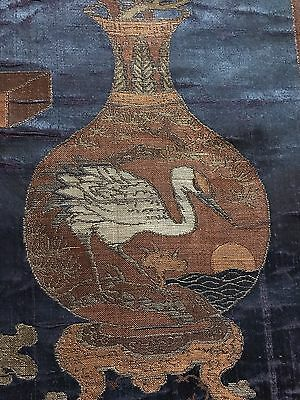 "18th C Antique Chinese Silk Brocade Hand Woven  Panel Wall Hanging 13"" By 46"""