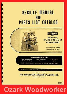 Cincinnati 200 ML, 200, 300 400 MI Milling Machine LL Service & Part Manual 116