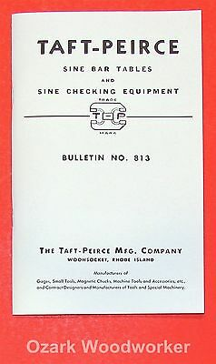 TAFT-PEIRCE Sine Bar Use Instructions and Constant Table Handbook Manual 0950