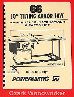 "POWERMATIC Model 66 10"" Table Saw Instructions Parts Manuals 1010"