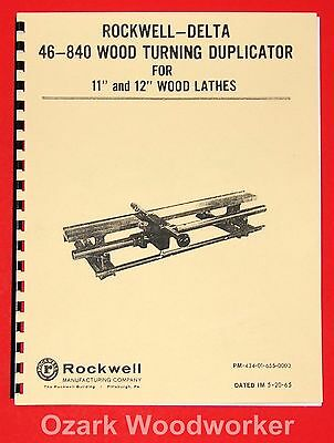"ROCKWELL-DELTA 46-840 11"" & 12"" Lathe Duplicator Instruction Part Manual 1018"