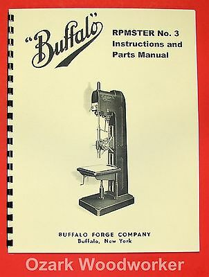 BUFFALO No. 3 RMPster Drilling Machine Owner's Instructions Parts Manual 0958