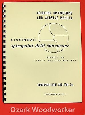 CINCINNATI Model LM Spiropoint Drill Sharpener Instructions & Parts Manual 0959