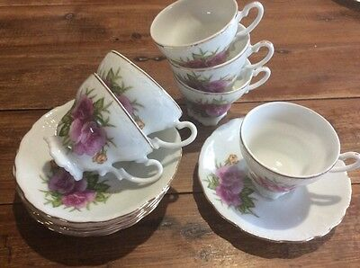 6 X  Demitasse Coffee Cups & Saucers Japan Roses High Tea Tiny Vintage Retro