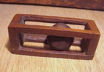 Trench Art Civil War Era Soldier Carved Wood Ball In Wooden Open Box- One Piece