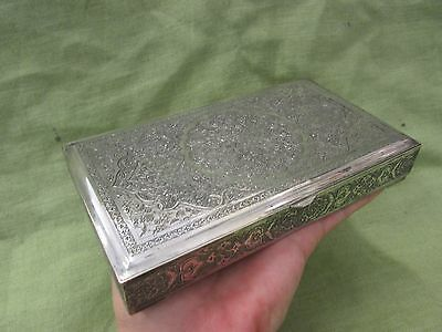 VERY RARE Antique Iranian Persian .875 Solid Silver Gold Gilt Ornate Box 356g