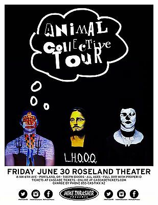 "ANIMAL COLLECTIVE ""L.H.O.O.Q.""2017 PORTLAND CONCERT TOUR POSTER-Experimental Pop"