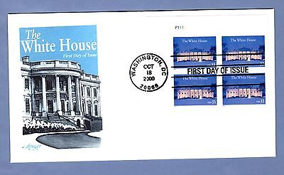 2000 #3445 33c The White House Blk/4 PN Artmaster cachet FDC