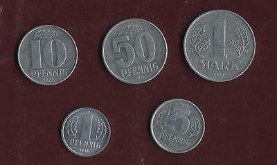 German Democratic Republic Set Of 5 Coins Collection From Pfennig To Mark  (Bc)