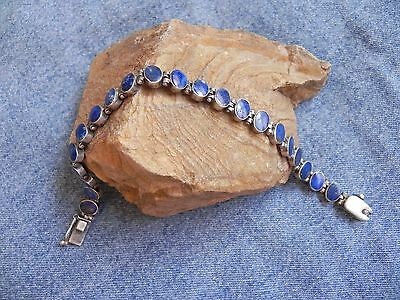 Blue Lapis & Sterling Silver .925 link Bracelet with security lock Thailand