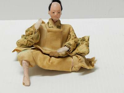 Old Japanese Male Samurai Shogun Doll Silk Clothes - Gofun - Old - Nr !