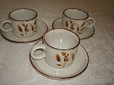 3 Wedgwood Midwinter Stonehenge Wild Oats Cups & Saucers