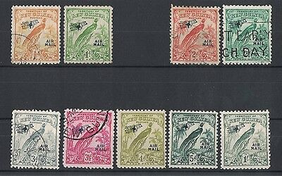 1932 Papua New Guinea Air Mail Birds SG 190/6 Selection of 9 stamps mixed cond.