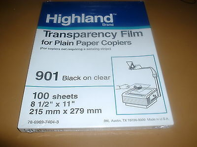 3M Highland Transparency Film 901 Plain Paper Copiers 100 Sheets New Unopened