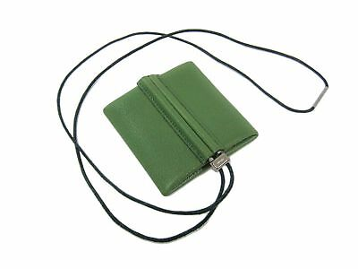 Auth HERMES Coin Case with Strap Necklace Chevre Leather Anis Green (BF306720)