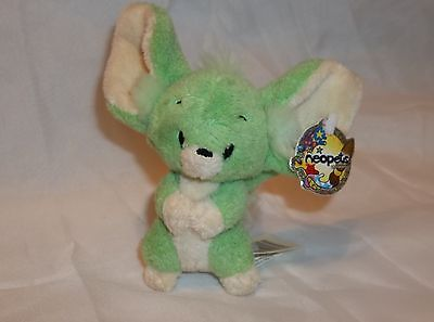 """Neopets Green Faellie Petpet with tags  5"""" tall  2004"""