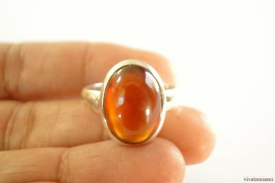 Hessonite Garnet Solitaire Sterling Silver Ring Size 6 7 7.75