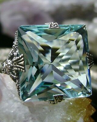 12ct *Aquamarine* Sterling Silver Victorian/Deco Filigree Ring {Made To Order}